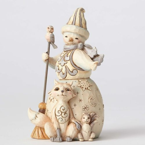 Jim Shore Flurry Of Friends White Woodland Snowman with Fox